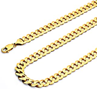 14k REAL Yellow OR White Gold Men's 4mm Cuban Concave Curb Solid Chain Bracelet with Lobster Claw Clasp - 7.5