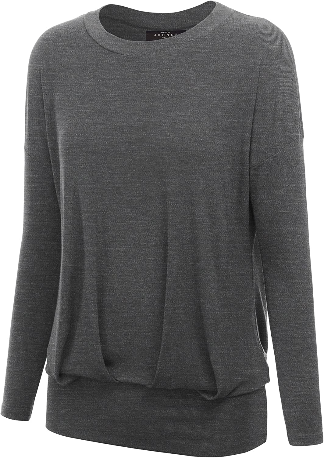 Made by Johnny Women's Long Sleeve Dolman Top with Shirring  Made in USA