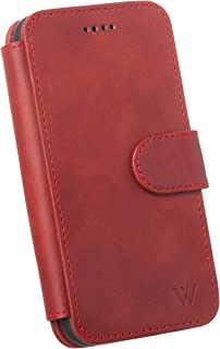 Wilken iPhone 11 Leather Wallet Case with Detachable Phone Case   Wireless Charging Compatible   Top Grain Cowhide Leather (Red, 11)
