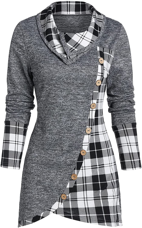 Women's Cowl Max 88% OFF Neck Plaid Drawstring Sweatshirt Tunic excellence Skew Button