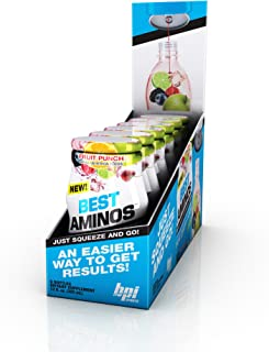 BPI Sports -Aminos Liquid Water Enhancer, Fruit Punch, 24 Servings per Bottle, 6 Bottles,