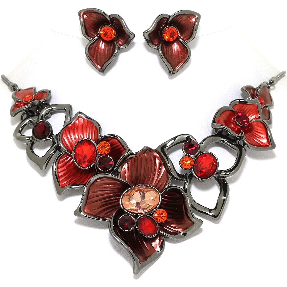 AnsonsImages Necklace Earrings Set Flowers Gems Rhinestones Multi Color Red Dark Gray Tone Alloy