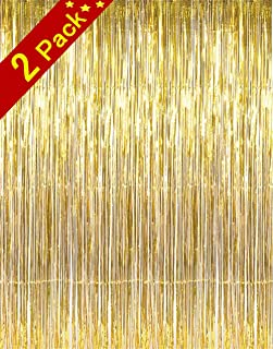 Cherish tea 2 Pack 3.2ft x 8.2ft Shiny Gold Metallic Tinsel Foil Fringe Curtains for Birthday Wedding Holiday Celebration Party Photo Booth Props Backdrop Decorations (Gold)