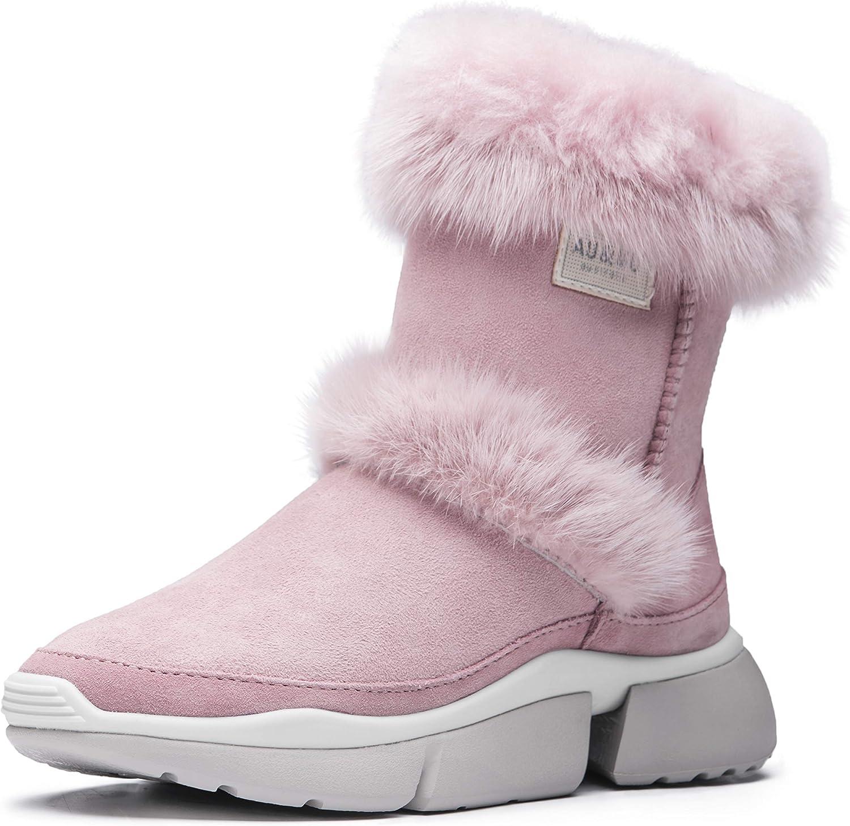 AUMU Sheepskin Hairy Entry Luxury Middle Calf Elevator Hidden Heel Winter Snow Boots