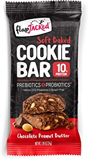 FlapJacked Soft Baked Cookie Bar, Chocolate Peanut Butter, 12 count | Protein Snack Bar | Prebiotics + Probiotics | Gluten-Free