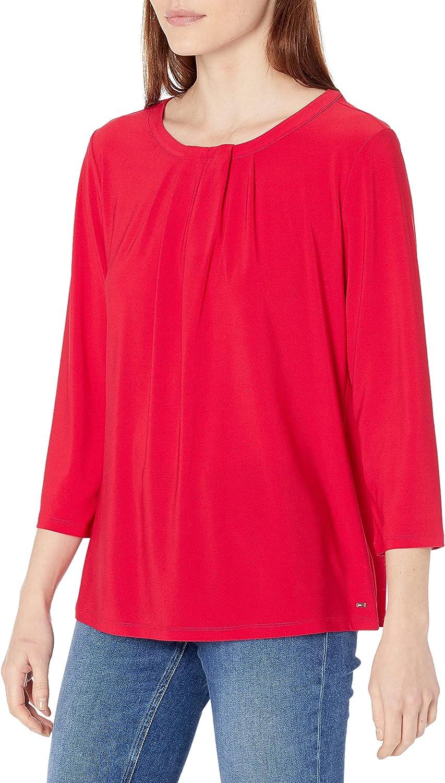 Tommy Hilfiger Women's Pleat Neck 3/4 Sleeve Knit Top