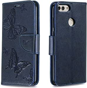 DENDICO Huawei Smart Wallet Case  Premium Leather Cover with Butterfly Design  Flip Folio Book Case Full Body Protection with Card Holder for Huawei Smart Navy Blue