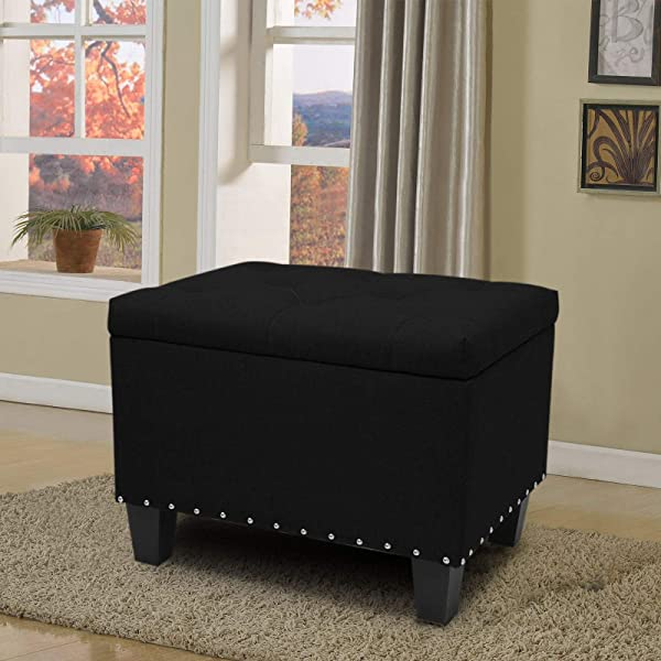 Magshion OTTO Poly BK S Rectangular Storage Bench Tufted Footrest Lift Top Pouffe Ottoman Coffee Table Seat Foot Rest