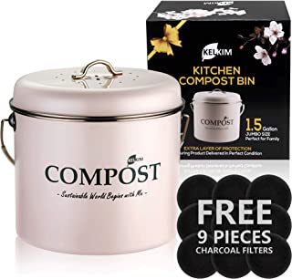 Kitchen Compost Bin 9 Bonus Charcoal Filters | Vintage Rustproof | Large Size 1.5 Gallon | Countertop Compost Container | ...