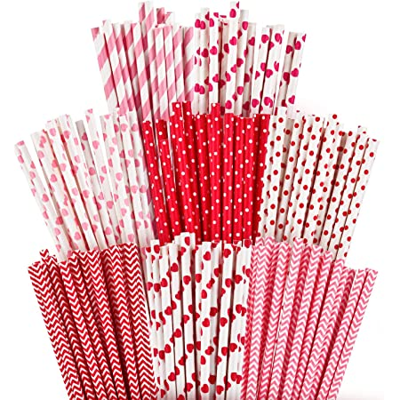 Just Artifacts Brand Red Hearts Pattern Item:PPS250031 Visit Our Store For More Colors /& Patterns! 25pcs Paper Straws