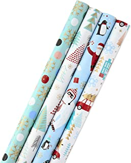 Hallmark Holiday Wrapping Paper Bundle with Cut Lines on Reverse, Quirky Christmas (Pack of 4, 120 sq. ft. ttl) Yeti, Santa, Penguin, Snowflakes, Blue, Gold