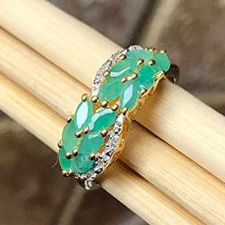 Natural Green Emerald & White Topaz 14K Yellow Gold over Sterling silver Ring size 7