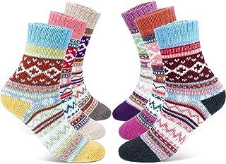 calcetines de lana para mujer, calcetines acogedores de invierno vintage, suaves, cálidos, gruesos, transpirables, 6 pares