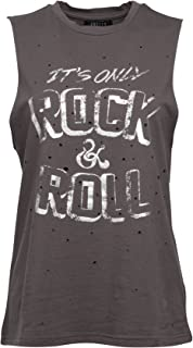 Womens It's ONLY Rock N ROLL Distressed Tank Top Tee