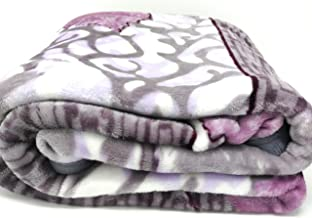 DaDa Bedding Orchid Blossoms Soft Cozy Plush Luxe Flannel Fleece Throw Blanket - Floral Leaves Solid Striped Multi Purple Lavender Print - 66