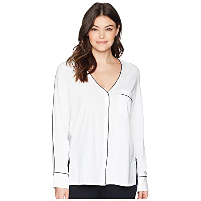 Skin Odessa Pajama Top (White/Midnight Trim) Women