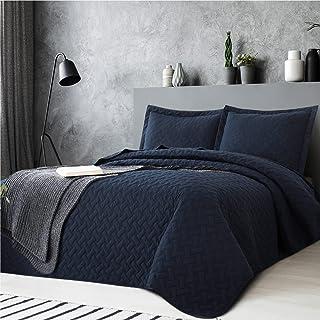Bedsure Quilt Sets Queen Navy Blue - Lightweight Queen Quilt Beding Set, Summer Bedspreads Full Coverlet with 2 Pillow Shams