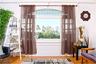 Doli 2 Piece Window Curtains Sheer Panels Set ( 54 Inch W x 84 Inch L ) Window Draperies, Elegant Window Treatment, for Living Room, Kids Room, Bedroom and Kitchen (Chocolate)