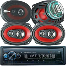 """$79 » Sponsored Ad - 4X Audiobank AB6970 6"""" x 9"""" 1400W 3-Way Blue Car Audio Stereo Coaxial Speakers and Blaupunkt Irvine70 1 Din..."""