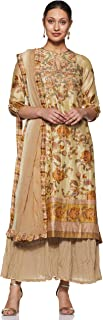 Round Neck 3/4 Sleeve Long Floral Printed Kurta With Sharara And Dupatta