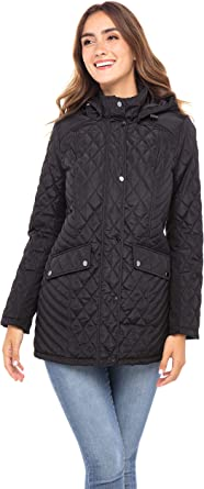 Sebby Collection Women's Quilted Jacket with Detachable Hood