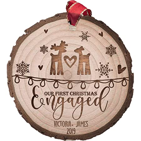 Family Christmas Ornament Personalized Picture Ornament Engraved Engagement Picture Ornament Custom Engraved Picture Ornament