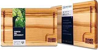 AMX Home Premium Tabla de cortar de madera ideal para picar y cortar, para servir cuchillos y surcos duraderos, madera, beige, 20cm x 30cm