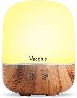 Vacplus アロマディフューザー 加湿器 300ml大容量 超音波式 卓上加湿器 七色変換LEDライト 空焚き防止機能(木目調)