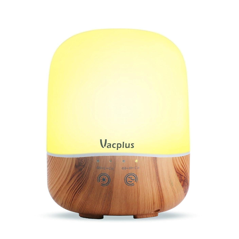 馬鹿早熟同じVacplus アロマディフューザー 加湿器 300ml大容量 超音波式 卓上加湿器 七色変換LEDライト 空焚き防止機能(木目調)