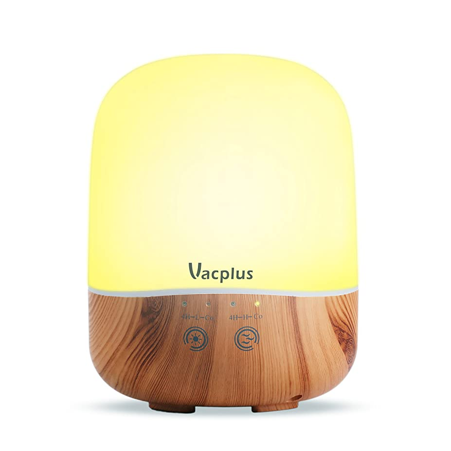 終点個性物理Vacplus アロマディフューザー 加湿器 300ml大容量 超音波式 卓上加湿器 七色変換LEDライト 空焚き防止機能(木目調)