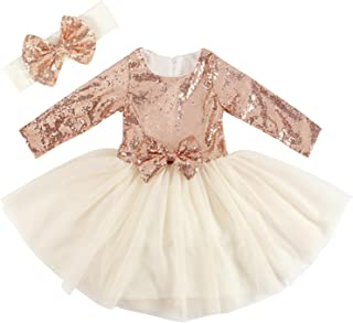Cilucu Flower Girl Dresses Toddlers Sequin Party Dress Tutu Prom Cocktail Gown Long Sleeve Rose Gold/Offwhite