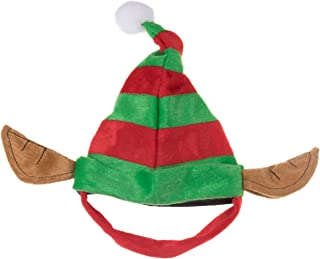 Clever Creations Puppy Dog Christmas Elf Hat   Perfect for Many Breeds and Sizes   Red and Green Striped Santa's Helper Pet Hat with White Pom Pom and Elf Ears   Measures 6