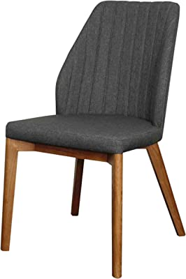 New Pacific Direct Tory Fabric Chair,Walnut Brown Legs,Night Shade Gray,Set of 2