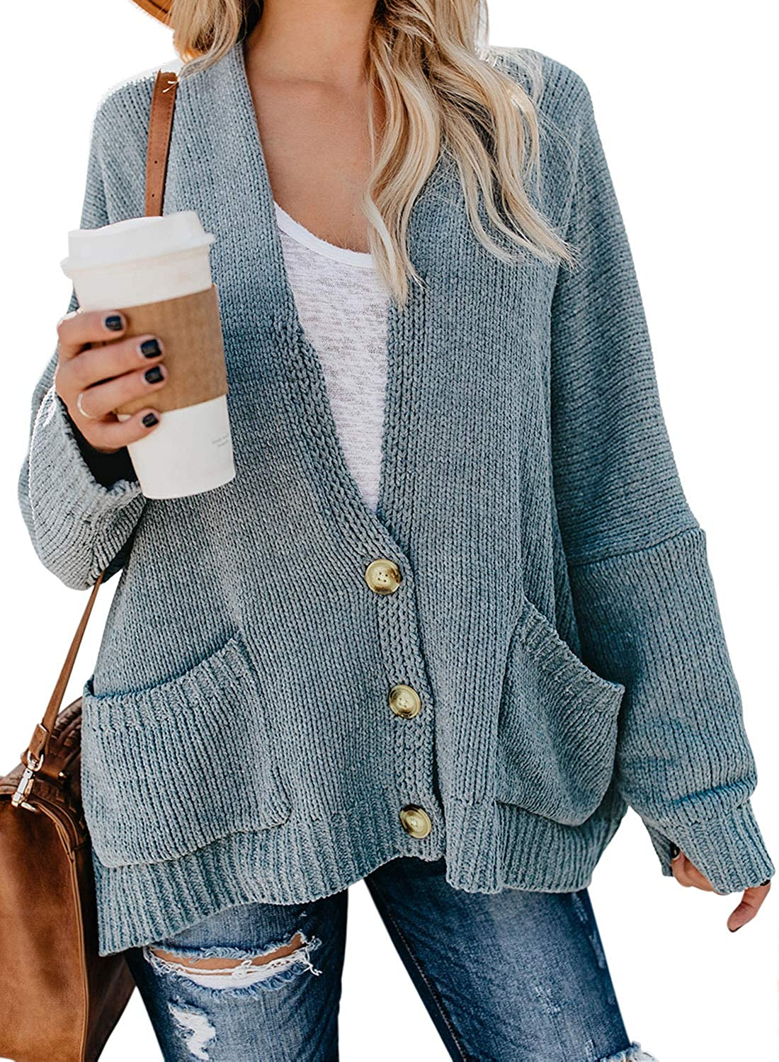 BLENCOT Womens Oversized Knit Texture Casual Loose Open Front Cardigan Sweaters