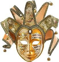 Gold Volto Resin Music Venetian Jester Mask Full Face Masquerade Bell Joker Wall Decorative Art Collection