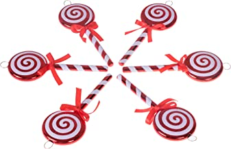 """Clever Creations Christmas Lollipop Ornament Set Red and White Candy Cane Design 