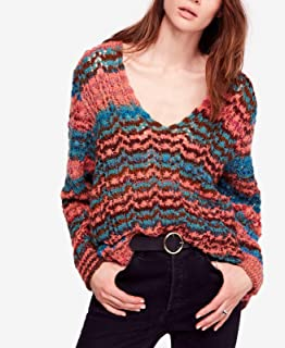 Free People Womens Spell On You Wool Cable Knit Crewneck Sweater