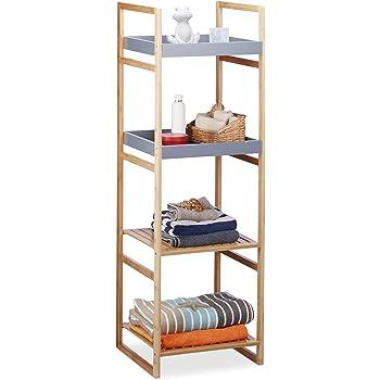 Relaxdays Estantería de baño, Cuatro estantes, Madera, De pie, Bambú, Mueble de almacenaje, Gris, 125,5x40x40 cm, Estándar: Amazon.es: Hogar