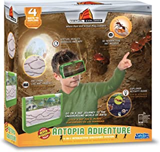 Virtual Explorer Antopia Adventure 4-in-1 VR, AR, hands-on play and learning system with Ant Farm habitat, VR Goggles and App, Augmented Reality cards and Explorer Guide