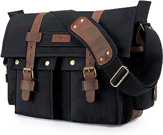 Kattee Unisex's Classic Canvas Shoulder Messenger Bag Leather Straps X-Large (Black)