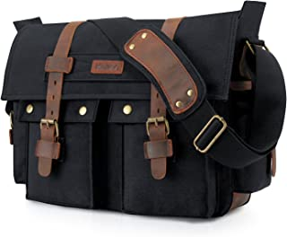 Kattee Leather Canvas Camera Bag Vintage DSLR SLR Messenger Shoulder Bag Black