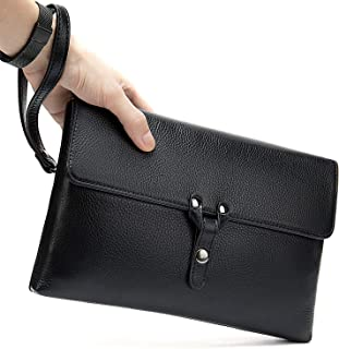 Handmade Genuine Leather Handbags for Men Large Purse Evening Clutch Bag Luxury Wristlet Wallet Black