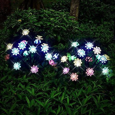 AIJIANG Solar Garden Lights Outdoor 2pcs Flower Solar Lights Impermeable Artificial Christmas Tree Lamp Solar Powered Garden Lawn Tree Christmas Path Decoration