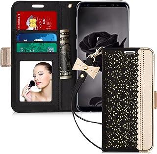 Galaxy S9 Plus ケース WWW 透かし彫り模様 高級PUレザー 手帳型 カード収納 マグネット式 スタンド機能 ストラップ付き 鏡付き スマホケース ブラック