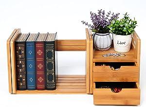 WOLTU RG9258br-a Bücherregal Schreibtisch Bambus Einstellbare Tischorganizer Schreibtischbox, Natur