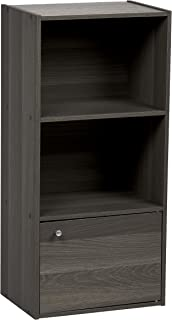 IRIS USA CX-31D 3-Tier Wood Storage Shelf with Door, Gray