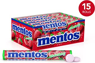 Mentos Chewy Mint Candy Roll, Strawberry, Halloween Candy, Bulk, Party, Non Melting, 1.32 ounce/14 Pieces (Pack of 15)