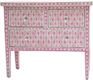 Handmade Beautifully Crafted In Unique Design Pink Bone Inlay Three Chests Of Drawers