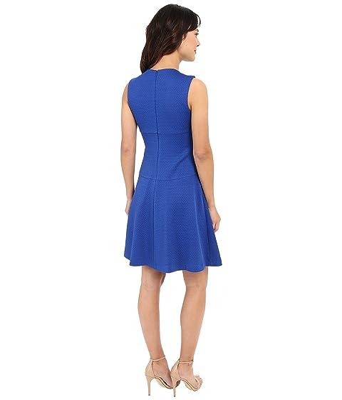 Calvin Textured w Dress Klein Front Zip Flare qr1pq