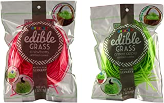 Edible Easter Grass - Grass Candy - Delicious Assortment of Flavors - Green Apple, Strawberry or Blueberry (Pink Strawberry & Sour Green Apple - 1 bag of each)